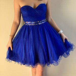 Dancing Queen Strapless Blue Tulle Dress Sz:Small
